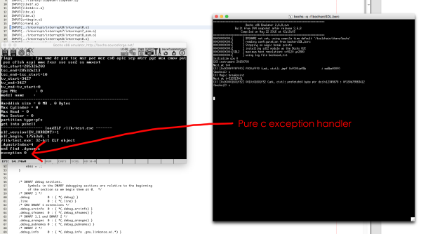 pure c exception handler